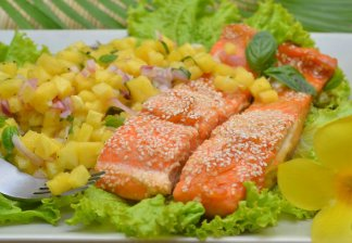 """<p><strong>Salmon with orange jam</strong></p> <p><span style=""""text-decoration: underline;"""">Required products:</span><br />-salmon(500 g.)<br />-orange(1 pc.)<br />-mustard (2 tsp.)<br />-jam orange (2 tsp.)<br />-soy sauce (2 tsp.)<br />-coriander (0,5 tsp.)<br />-sesame seeds (2 tsp.)</p> <p><span style=""""text-decoration: underline;"""">Preparation:</span><br /><strong>1)</strong>Squeeze juice from an orange.<br /><strong>2)</strong>Mix orange juice, mustard, orange jam, soy sauce and coriander.<br /><strong>3)</strong>We cut the fish into small pieces and put them into a roasting dish. Fill with our marinade. Leave for half an hour.<br /><strong>4)</strong>Preheat the oven to 180 degrees. Sprinkle the fish with sesame seeds and put in the oven for 15 minutes.<br /><strong>5)</strong>All! Very quickly and simply! But how delicious! We serve salmon with orange jam and favorite side dish.</p>"""